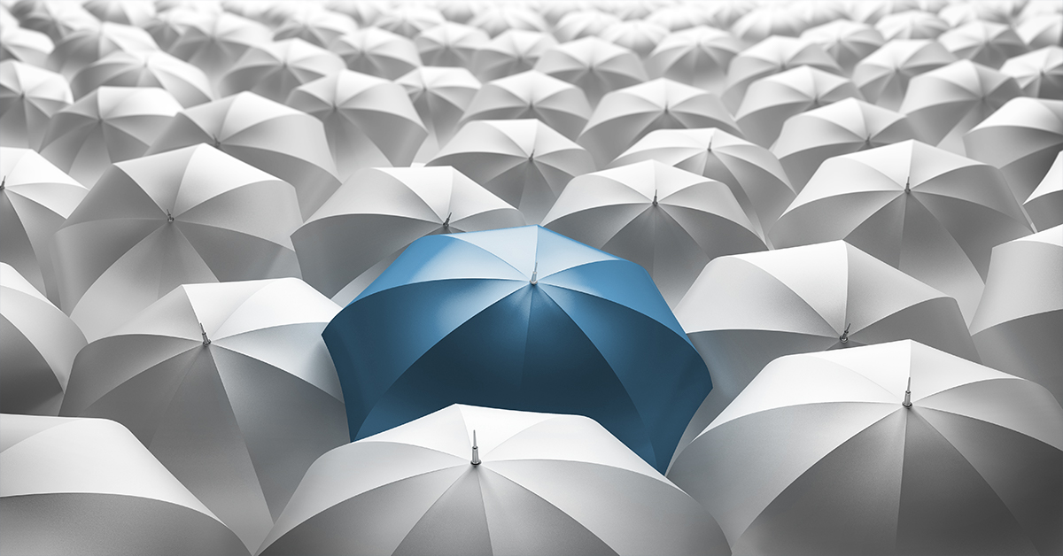 Un parapluie bleu