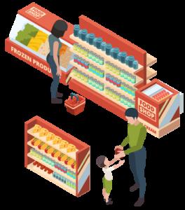 Consommateurs de présentoirs